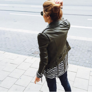 MAJA WYH wearing HIRONAÉ IROQUOIS leather jacket